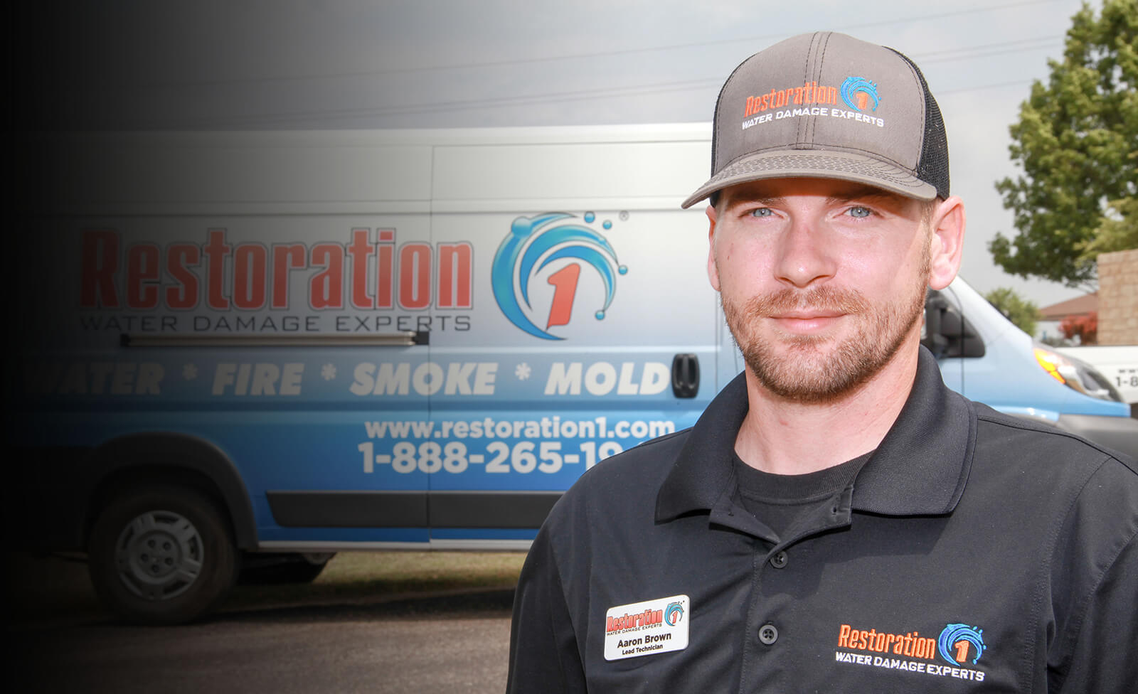 Restoration franchise restoration 1 technician in front of truck
